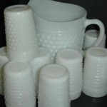 Milkglass pitcher and glasses