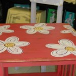 Table and chair with handpainted flowers