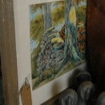 Watercolor in barnwood frame