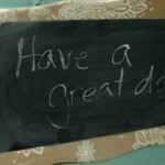 Clever chalkboard on a pretty tray
