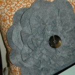 Gray felt flower pillow