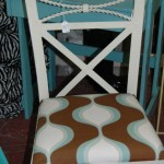 Modern traditional chair with chocolate aqua print seat
