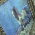 Windswept horse painting in great frame