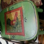 Painted rooster stool
