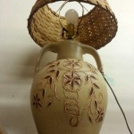 Pottery lamp with woven white oak shade