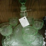 Tiara glass decanter stemware and platter