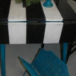 Black and White striped dropleaf table