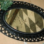 Black framed mirror or message board