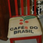 Chair with coffee bean bag burlap seat