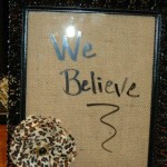 Cute dry erase board with burlap backing