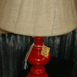 Red lamp with burlap shade
