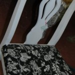 Black floral upholstered sidechair