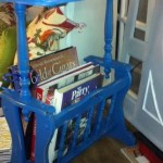 Blue sidetable and magazine rack