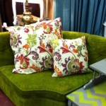 Bright green curved settee