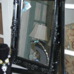 Fancy black framed mirror for tabletop or wall